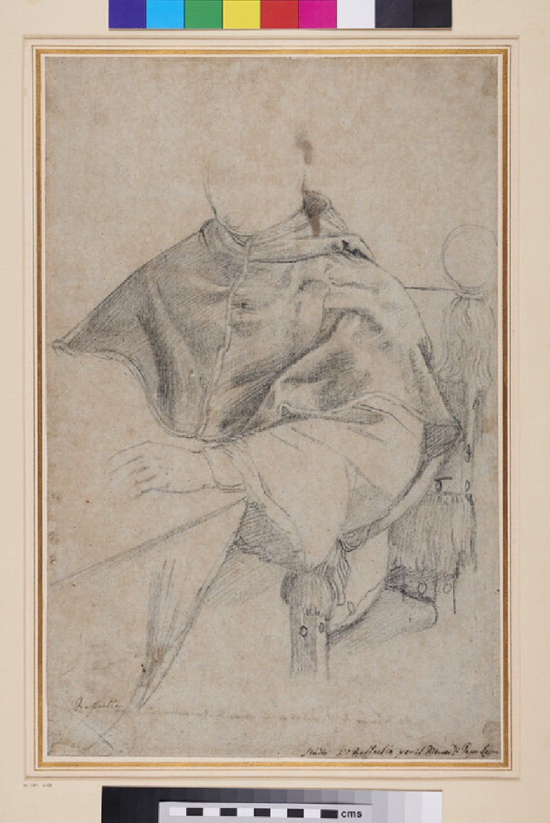 Recto: Pope Leo X<br />Verso: Sketch of a Chest or Casket (WA1846.281, recto)