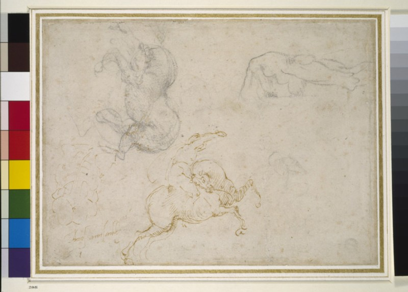 A horseman charging and other studies, possible study for the Battle of Cascina (WA1846.41)