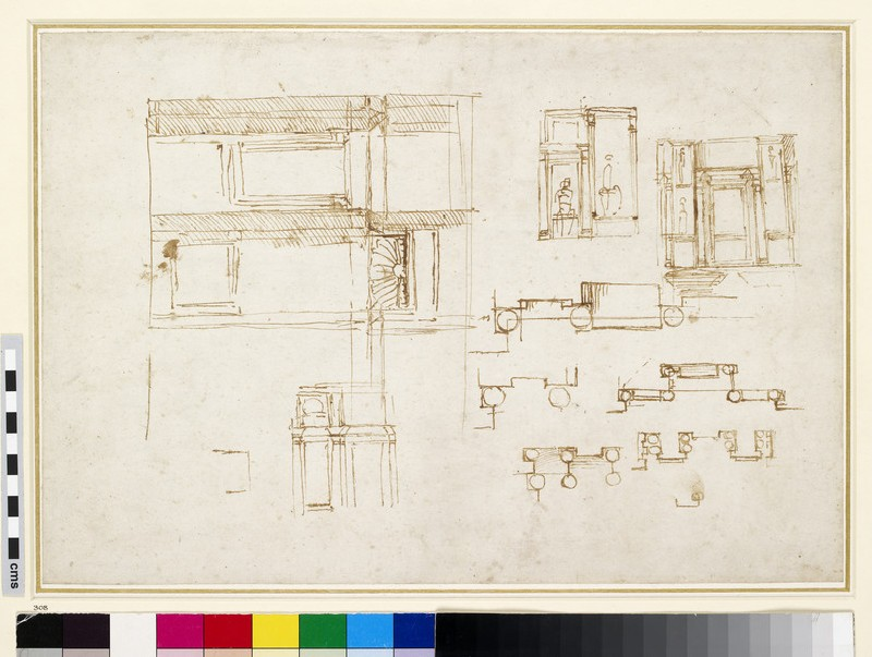 Recto: Elevation and Plans for a Double Medici Tomb<br />Verso: Rough Architectural Plan
