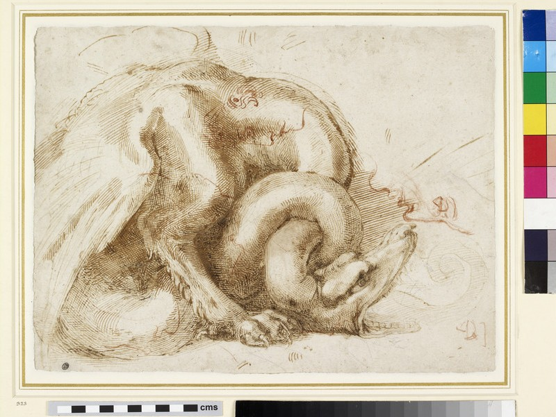 Recto: Dragon and other sketches<br />Verso: Various sketches of Eyes and Head profiles