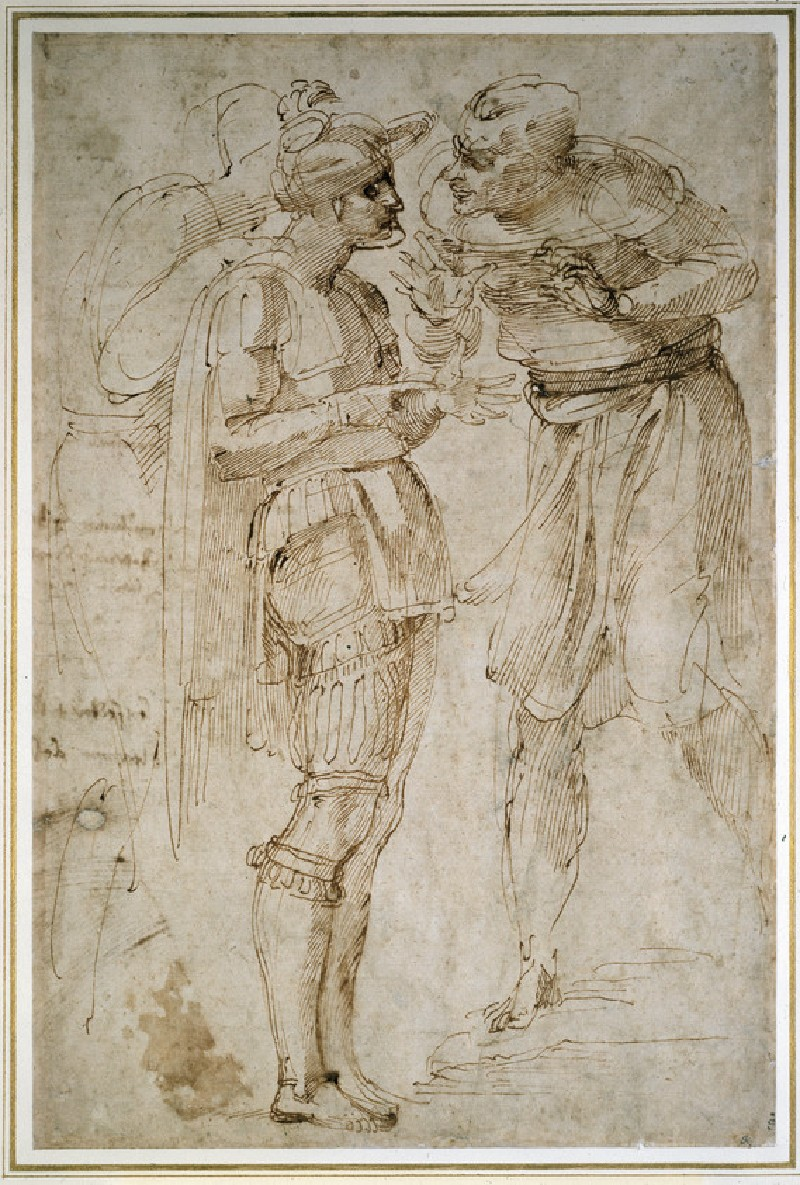 Recto: Three Men in Conversation<br />Verso: Various mutilated inscriptions