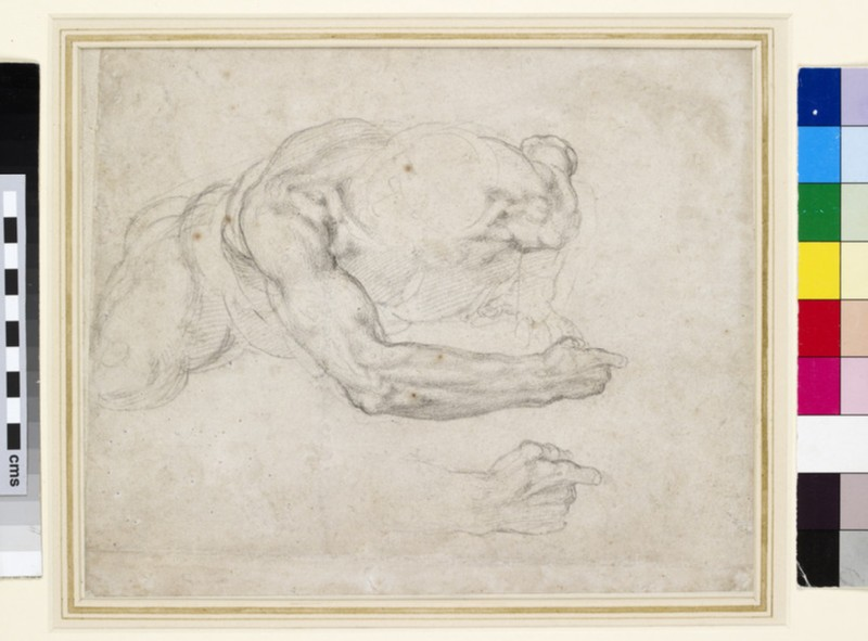 Recto: Study of a Man rising from the Ground<br />Verso: Study of recumbent Legs