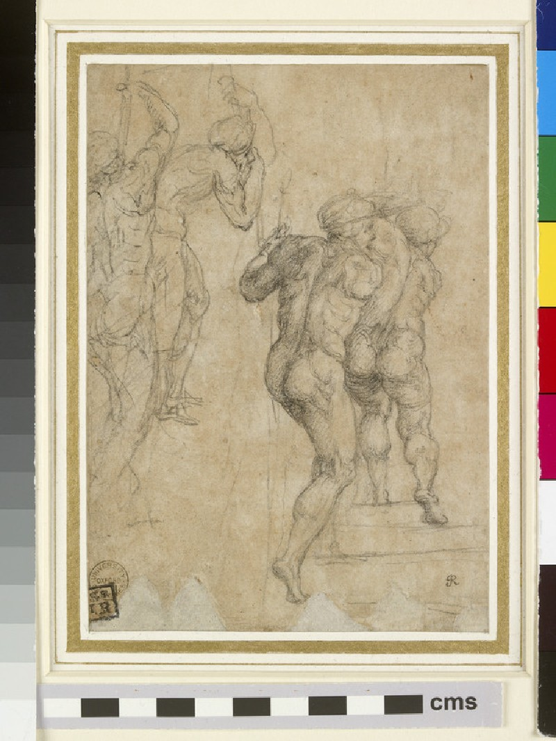 Two Soldiers seen from behind in variant Poses (studies for the Roman soldiers at lower left in the Crucifixion of Saint Peter) (WA1846.77)