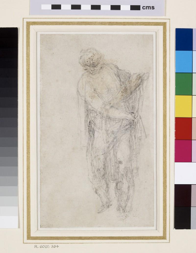Recto: Draped Male Figure<br />Verso: Female Figure and slight indications of a Niche