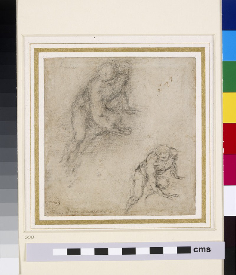 Recto: Two Studies of a male Nude