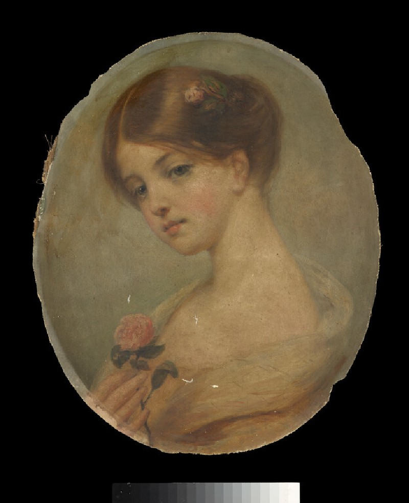 Head and shoulders of a Girl holding a Rose (WA1851.20)