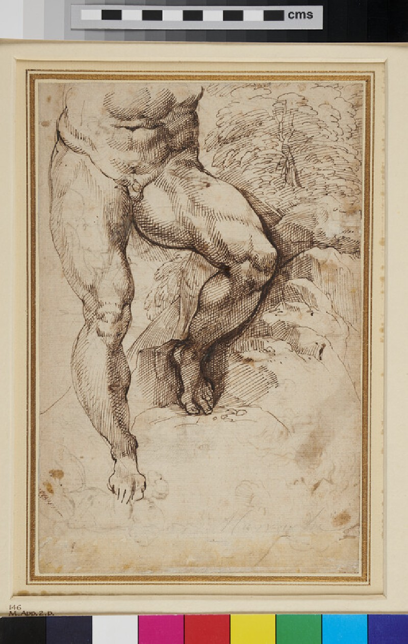 Recto: A male Nude<br />Verso: Studies of Heads and Figures
