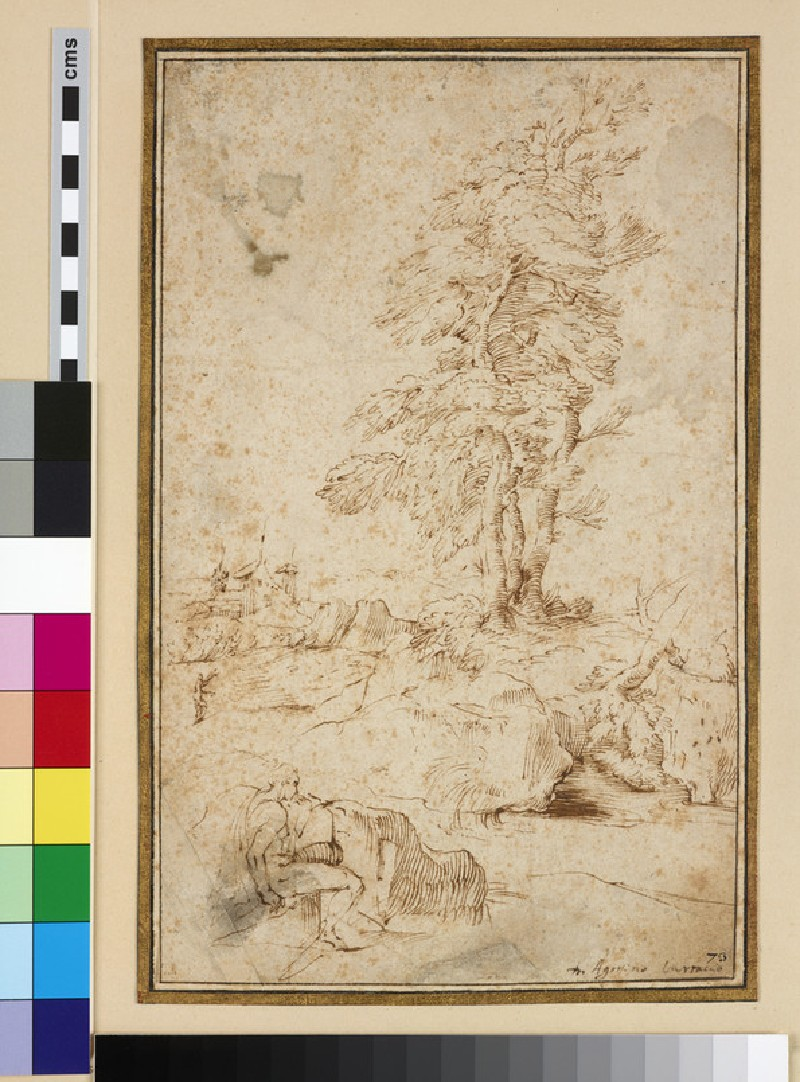 Landscape with tall Trees and a Figure