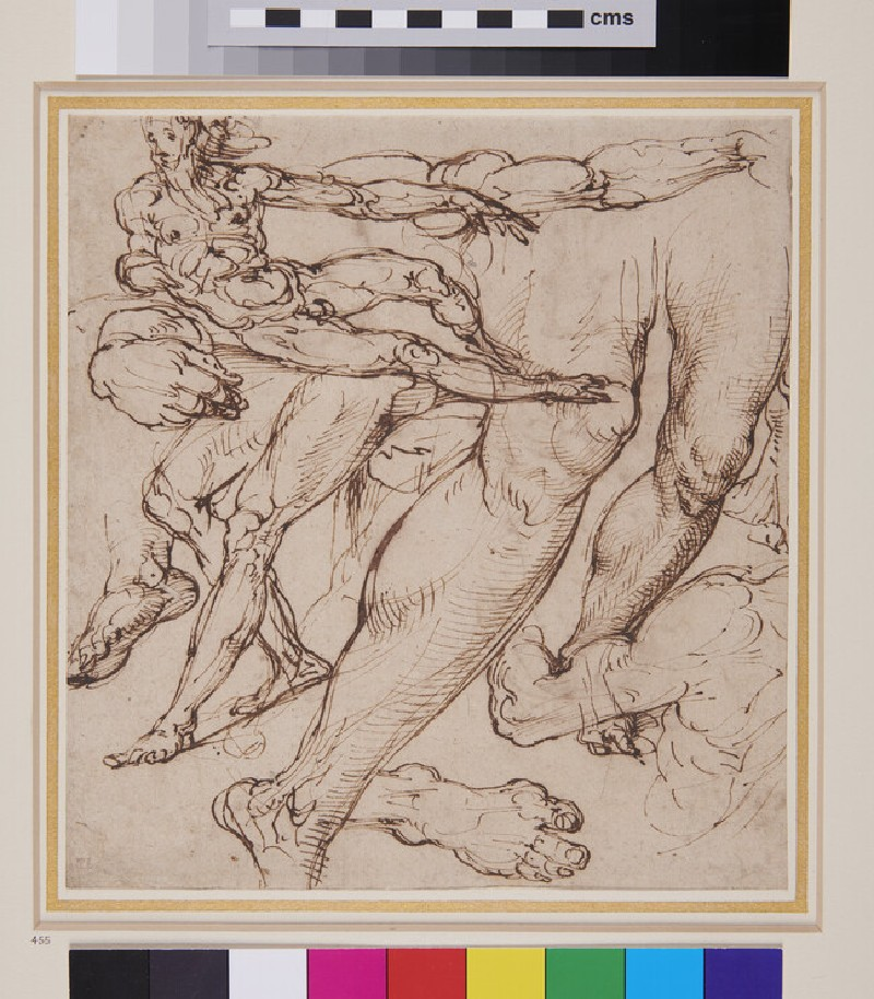Recto: Man reclining and Studies of Limbs<br />Verso: Two Designs for a Fountain