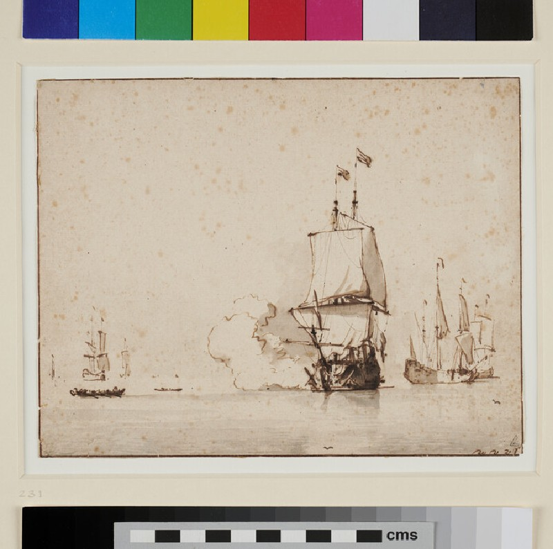 Calm: Vessel saluting (WA1855.106, recto)
