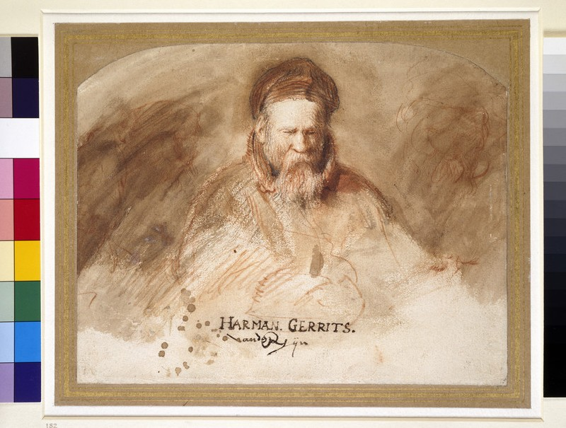 Recto: Portrait of an Old Man (Rembrandt's father)<br />Verso: Man slumped over in a Chair, clutching his Beard (WA1855.11)