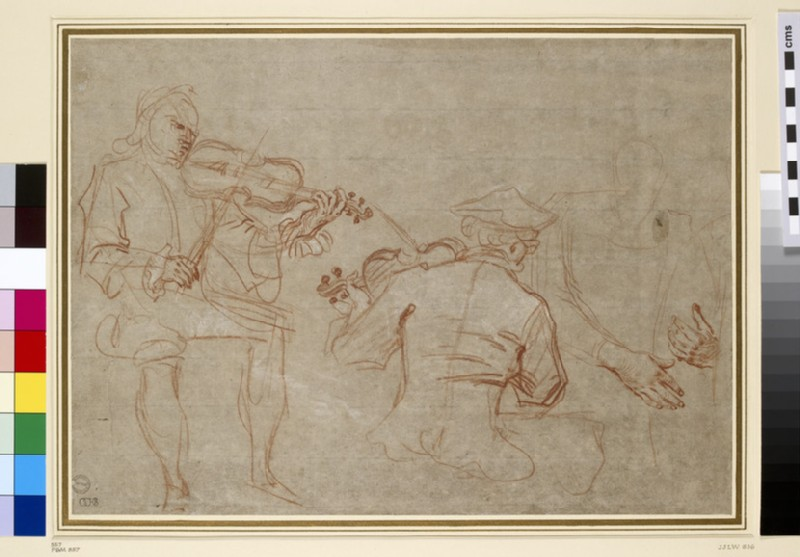 Study of two violinists and a pair of hands, holding an arm, on the right (WA1855.111)