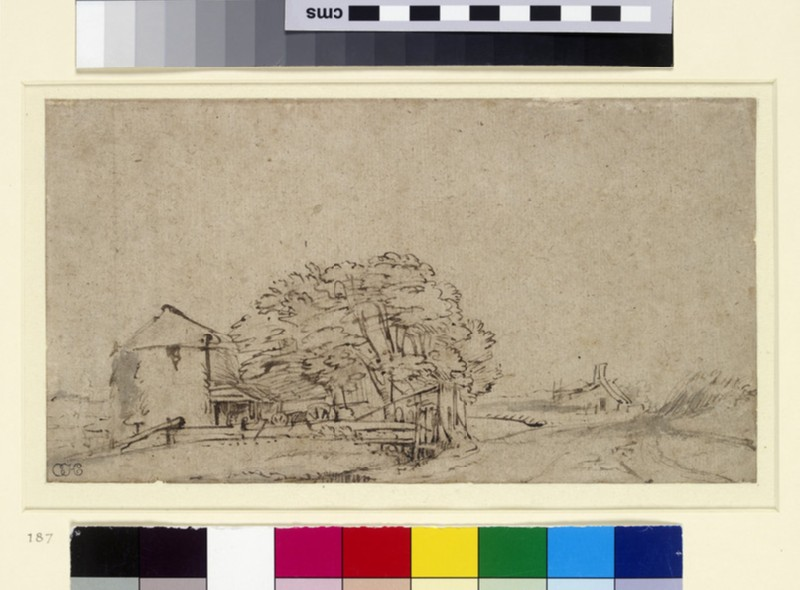 Farm Building beside a Road with distant Farmstead (WA1855.14)