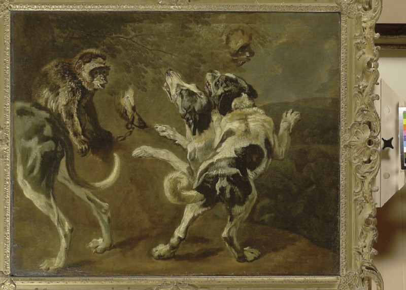 Study of Dogs and a Monkey on the Edge of a Wood (WA1855.181)