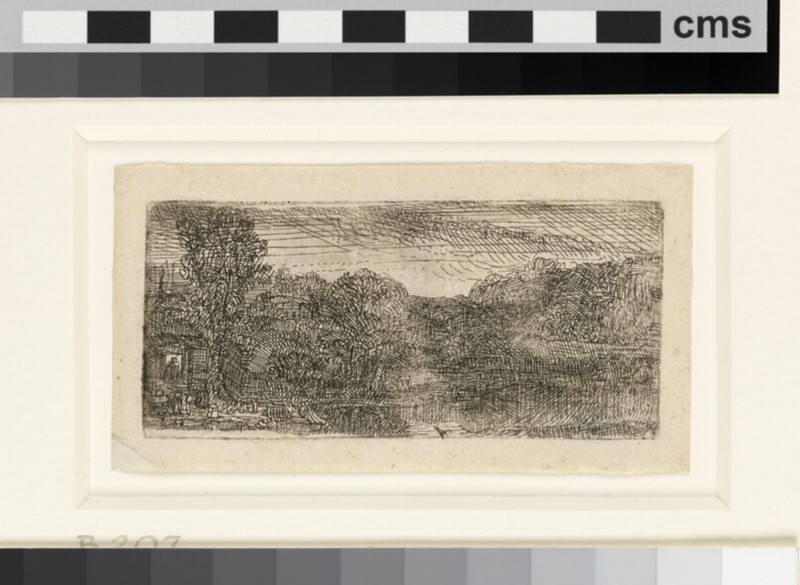 Small grey landscape: A house and trees beside a pool (WA1855.272)
