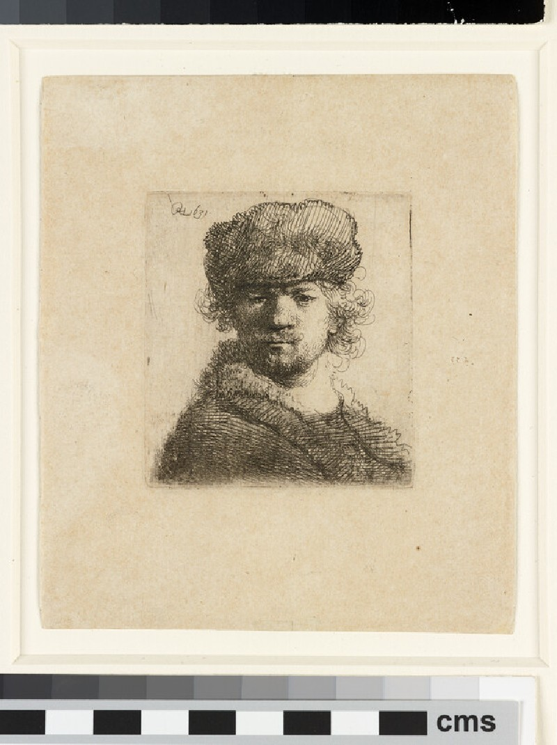 Self-portrait in heavy fur Cap: bust