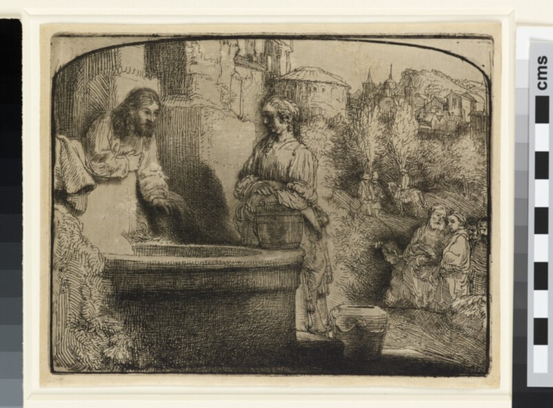 Christ and the Woman of Samaria: an arched print (John 4: 4-29) (WA1855.323)