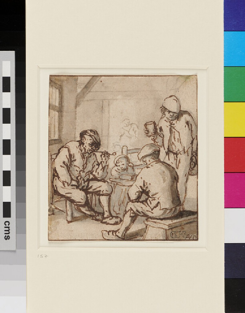 Peasants smoking and drinking (WA1855.33, recto)
