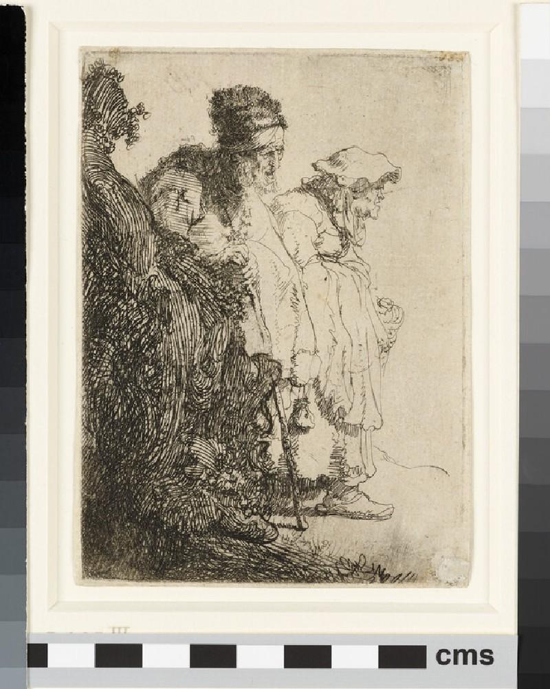 Beggar Man and Woman Behind a Bank (WA1855.334)