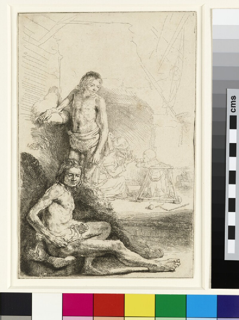 Male Nude, seated and standing