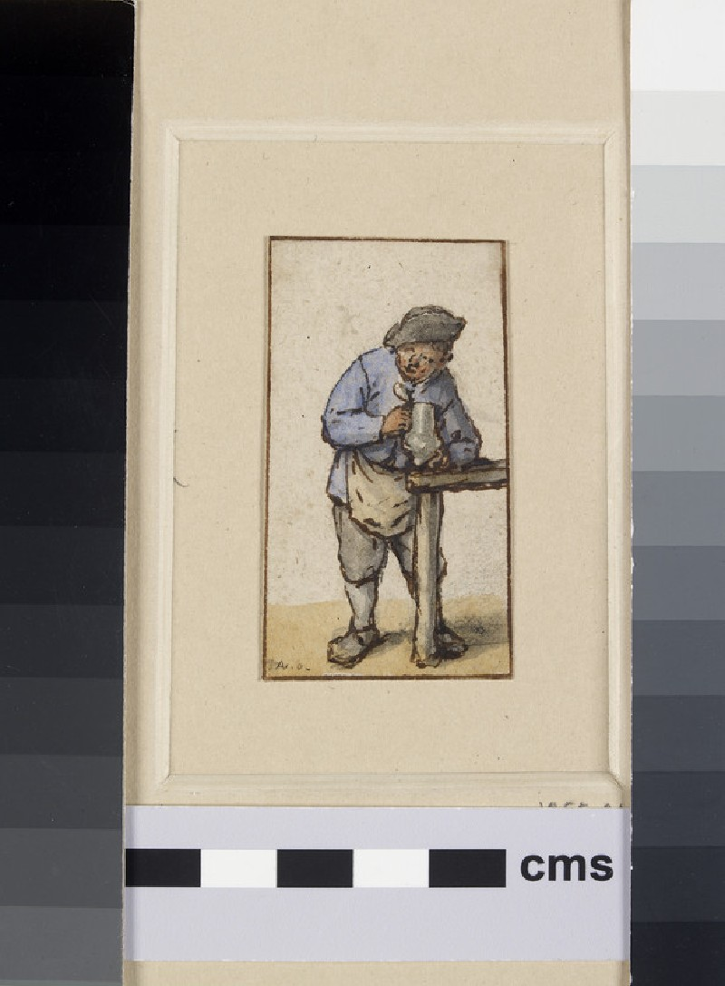 A Peasant, directed to front, holding a Jug of Beer and leaning on a Table (WA1855.34.1)