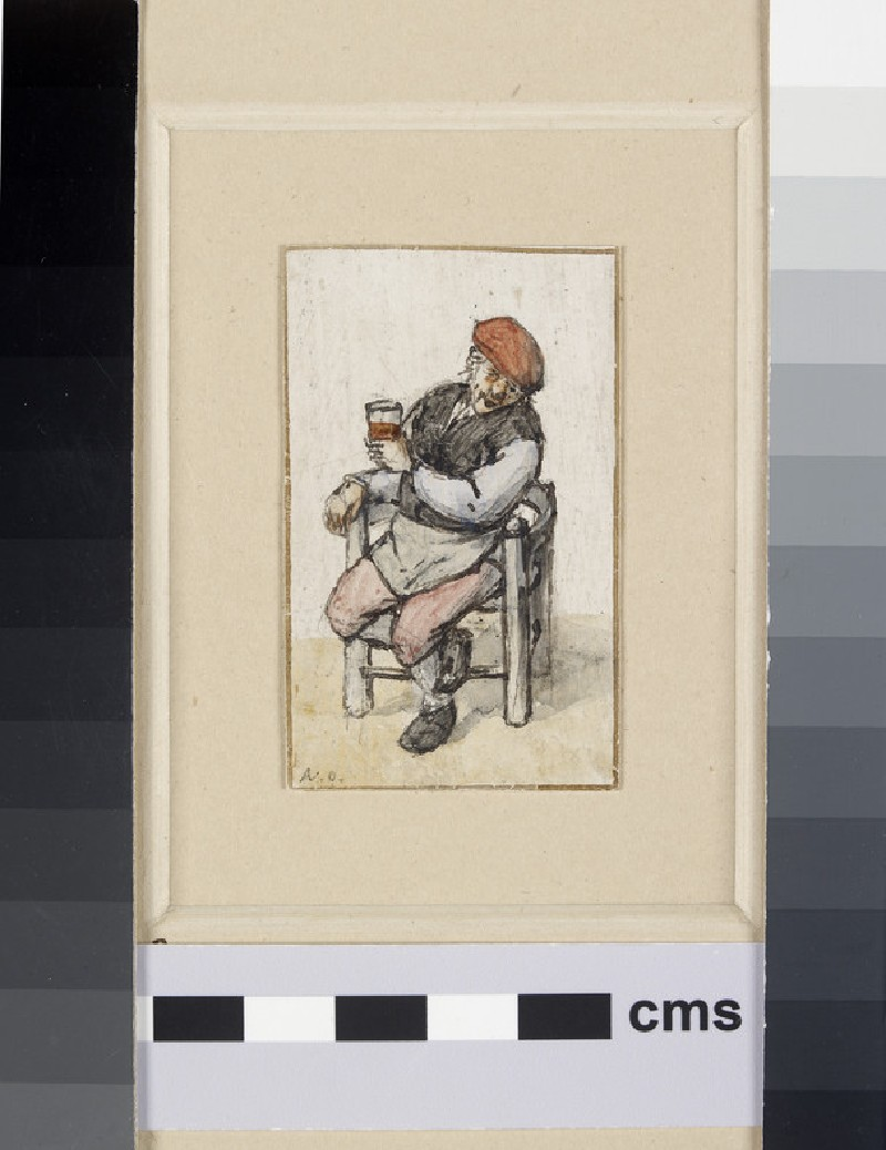 A peasant, seated towards the front in a Chair with a Glass of Beer in his left Hand