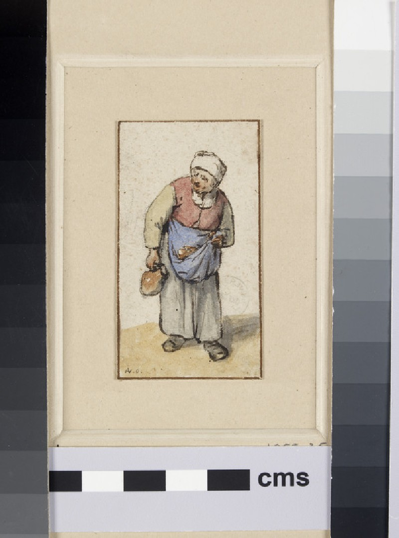 An old peasant Woman, walking to front and carrying a Jug in her right Hand