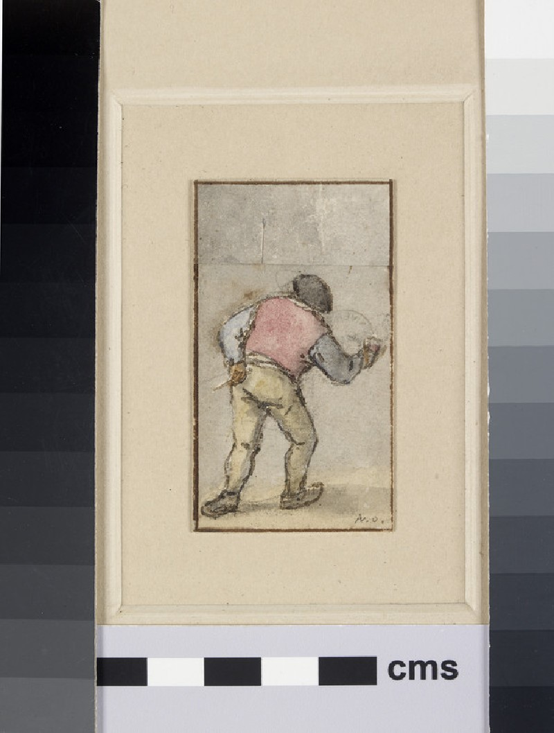 An old Peasant, carrying a Mug and Pipe, seen from the back walking away (WA1855.35.3)