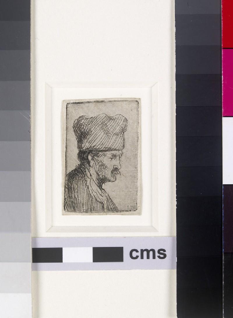 Man in a square cap, in profile right