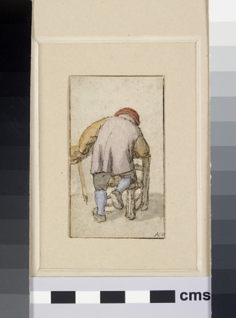 A Peasant, seen from the back, resting his Knee on a Chair and his left Hand on a Table (WA1855.36.2)
