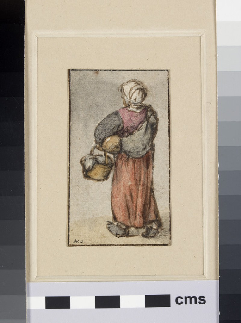 A peasant Woman seen from the back walking away, carrying a Basket and Package