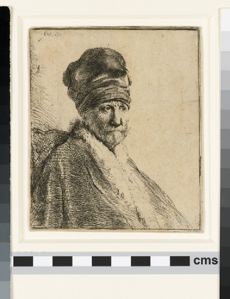 Bust of a man wearing a high Cap, three-quarters right: The Artist's Father (possibly) (WA1855.403)