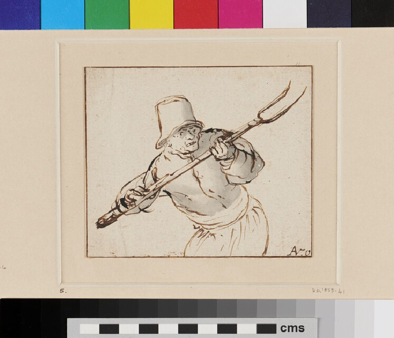 A Peasant, three-quarter length Figure directed to front, wielding a Pitchfork in a threatening Attitude (WA1855.41, recto)