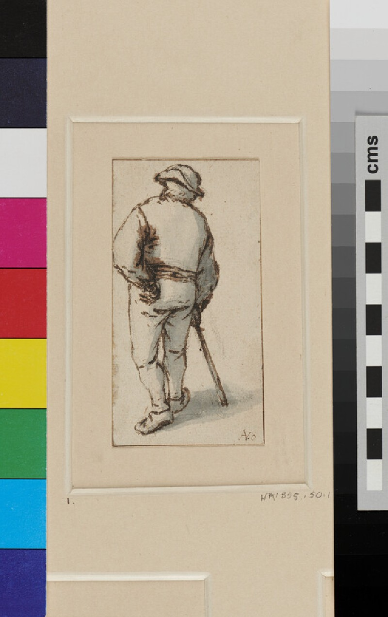 A Peasant seen from the back, walking away, the left Arm akimbo while the right Hand grasps a Staff