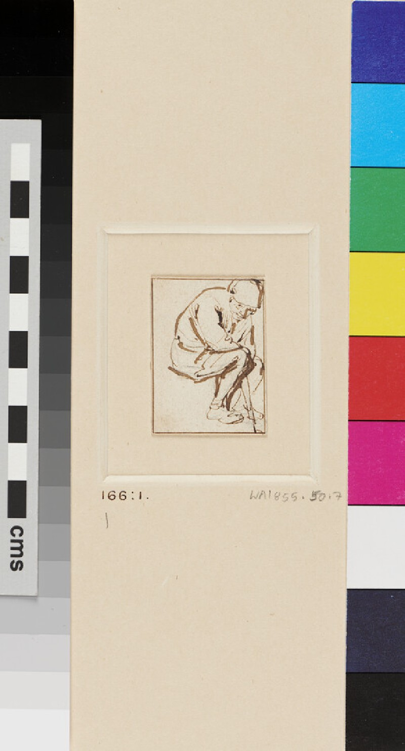 A seated Peasant, directed three-quarter to right, in a stooping Position (WA1855.50.7, recto)