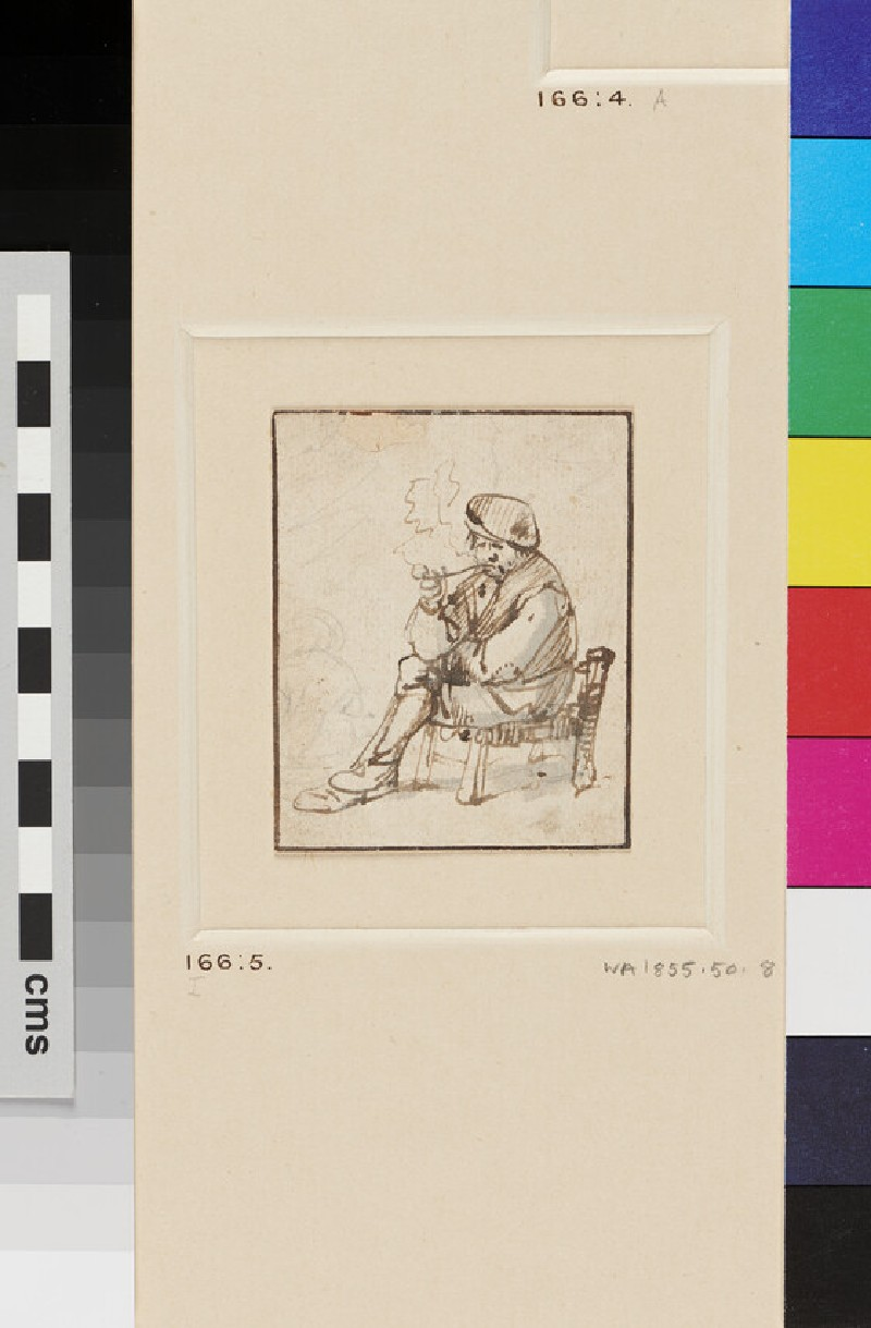 A Peasant, seated to left, in a low Chair, smoking a Pipe
