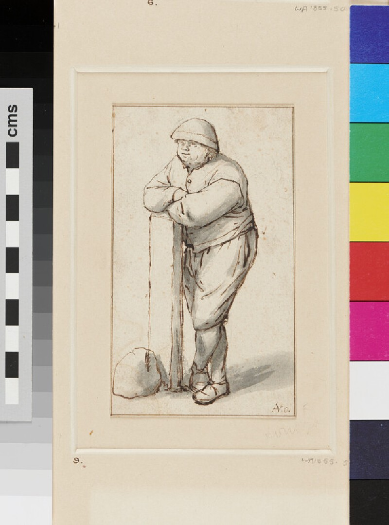 A fat-faced Peasant, directed slightly to left, leaning against a Post with his Feet crossed