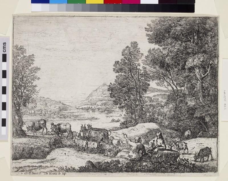 Berger et bergère conversant (Shepherd and shepherdess conversing in a landscape) (WA1855.522)