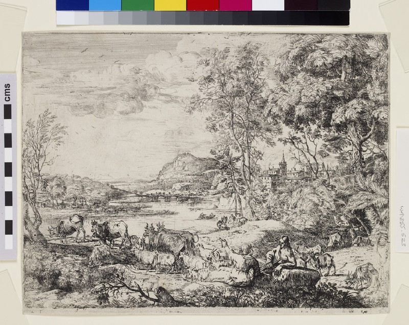 Berger et bergère conversant (Shepherd and shepherdess conversing in a landscape) (WA1855.523)