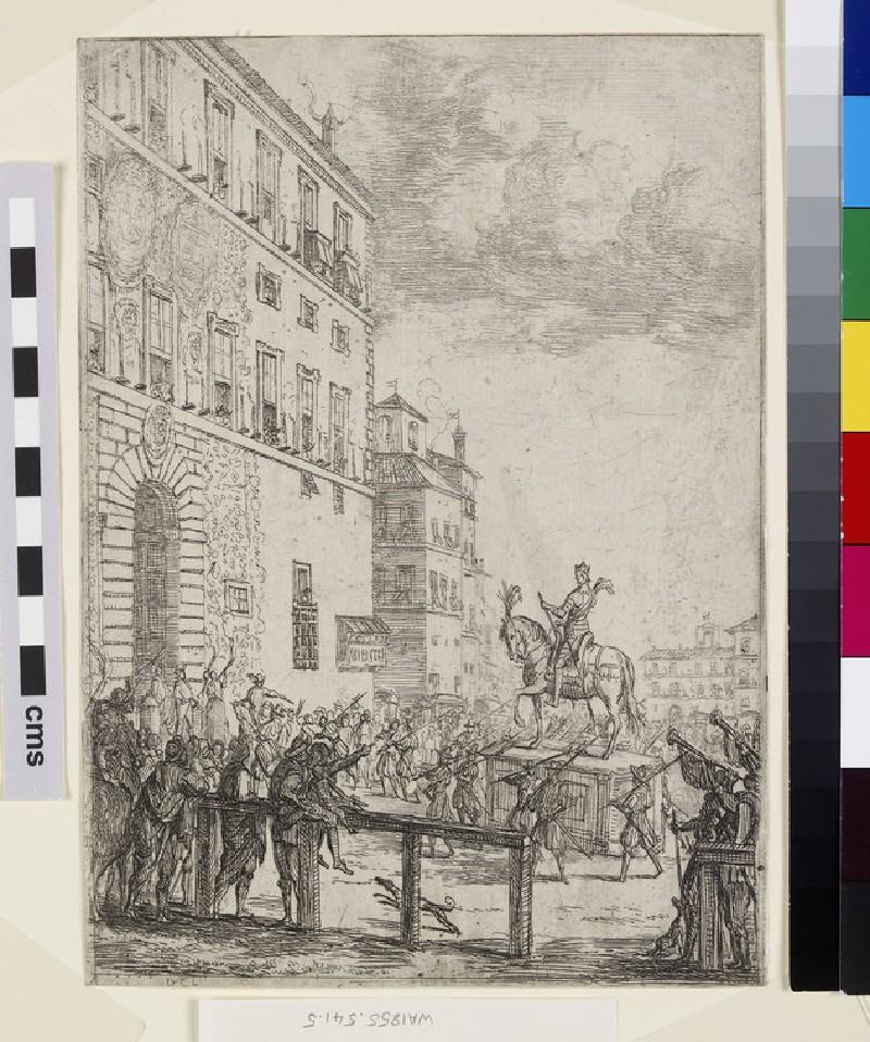 La Statue équestre du Roi des romains (Equestrian statue with the palace to the left)