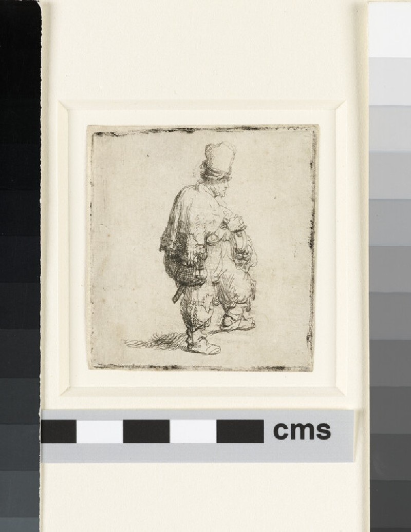 A standing Hurdy-Gurdy Player (Polander standing with Arms folded) (WA1855.587)