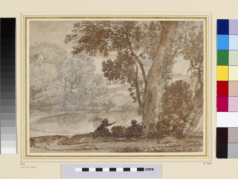 Two Figures, one with a fishing Rod, seated by a Tree