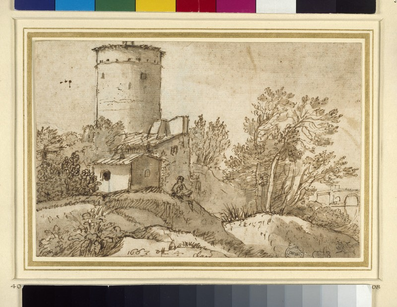 Recto: Farm buildings by the Tiber 