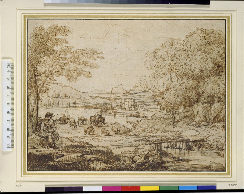 Youth playing a pipe in a pastoral landscape