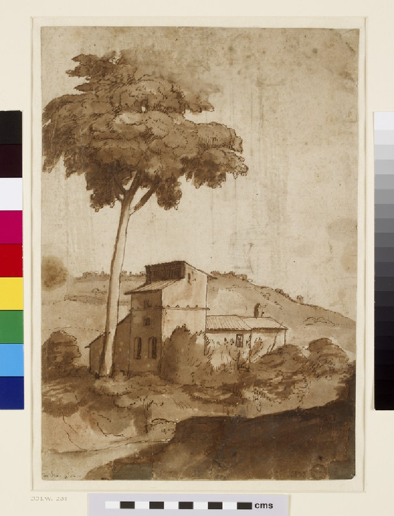 Recto: Farm buildings under a tall tree