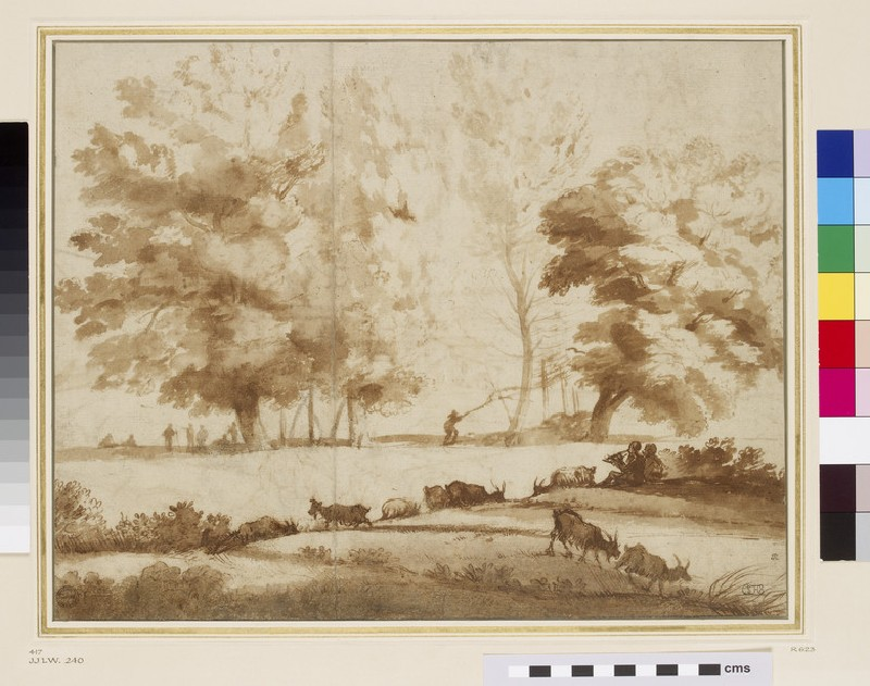 Recto: Landscape with trees, figures, and goats<br />Verso: Two figures following oxen with buildings and a mountain in the background