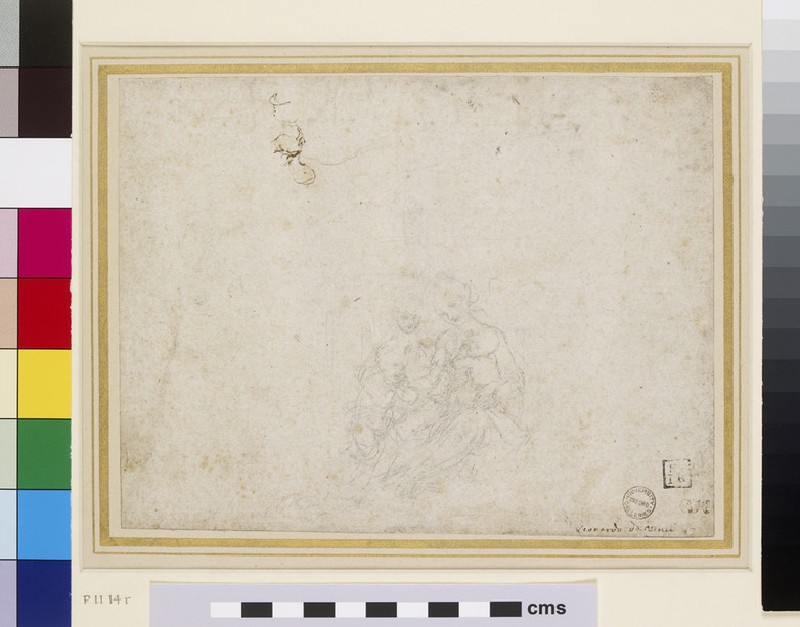 Recto: The Virgin and Child Adored<br />Verso: Perspective Study of receding Arches and various mathematical calculations