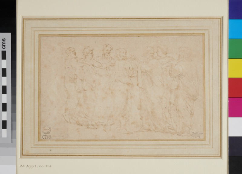 Composition of seven male figures in classical costumes conversing