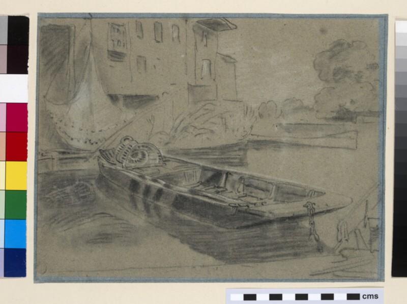 A Punt moored in Barnes Pool, Eton