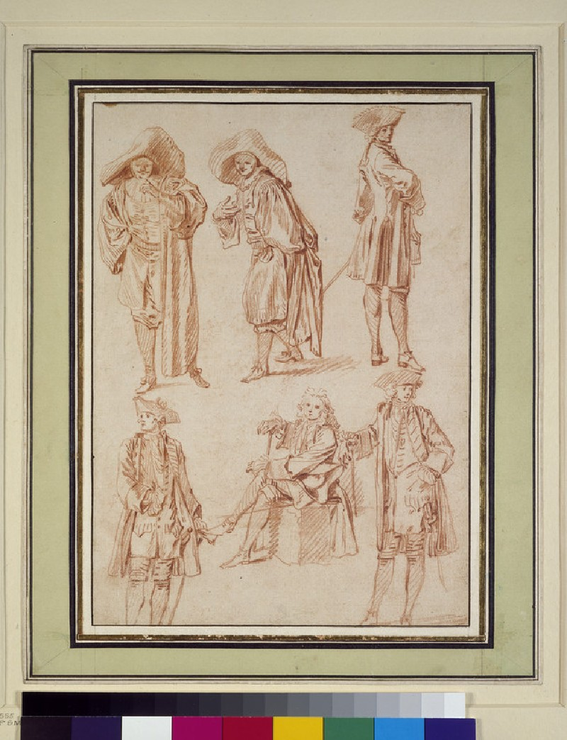 Two studies of the doctor in the Italian Comedy and four of officers, three standing, one seated (WA1863.126)